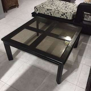 Wood Center Table w/ Glass