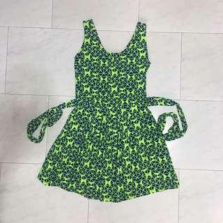 Green Navy Aztec Sleeveless Dress