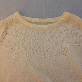 Crochet Off White Tee