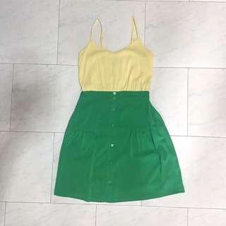 Thetinselrack Green Cream Two Toned Dress