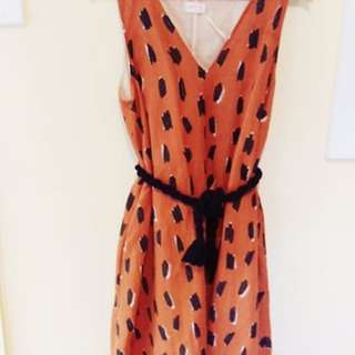 Gorman Orange Linen Swing Dress 14