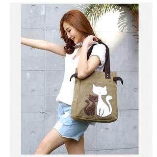 可愛貓咪帆布休閒袋 ,Cutie cat canvas leisure bag