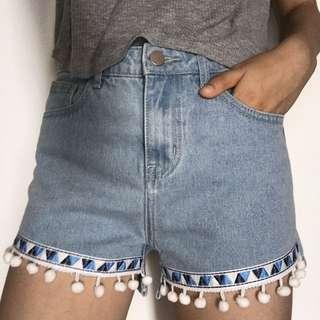 Pompon Denim Shorts