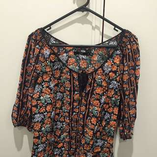 Orange and Black Floral Boho Sportsgirl Shirt Top size S Small 8 10