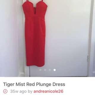 Red Plunge Dress Tigermist