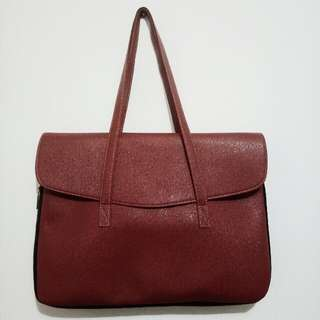 Faux Leather Brown Laptop Bag