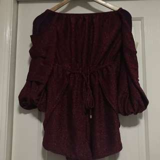 Burgundy Glitter Playsuit