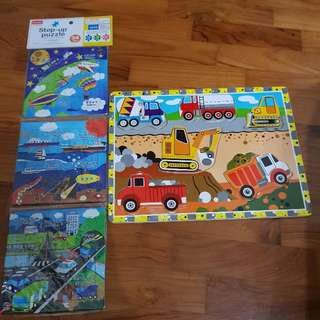 1 wooden 5 Piece Transportation Puzzle (Used) And 3 16-piece Puzzle (New)