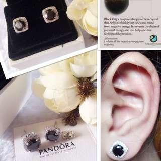 Authentic Bangkok Gold 18K ONYX STONE Pandora Stud Earrings