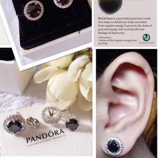 Authentic Bangkok Gold 18K BLACK ONYX STONE Pandora Stud Earrings
