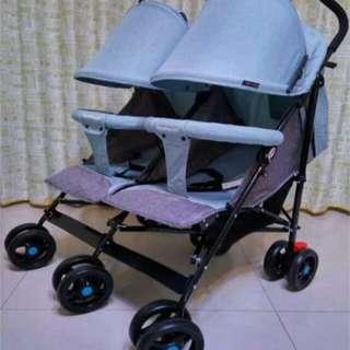 現貨 亞麻布橘紅色 藍色 雙寶可躺嬰兒傘車 雙胞胎推車 折疊小巧 安穩睡眠 3個月到3歲都可用 可坐可躺想睡就睡 雙人推車