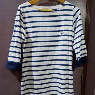 Regatta Blue Striped 3/4 Sleeve Dress