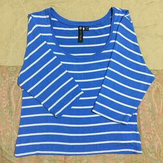 COTTON ON Striped 3/4 Crop Top