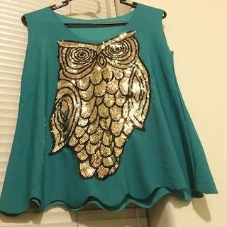 Owl Green Top