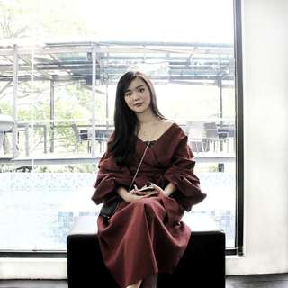TLC Aurel 2 Pieces Set Maroon Dress