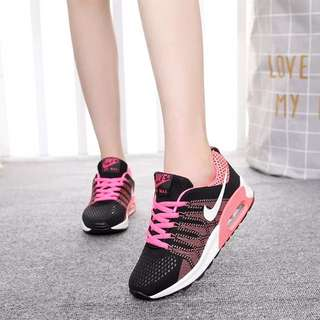 PO: Black And Baby Light Pink Nike Air Max Running Track Shoes