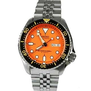 SEIKO Automatic SKX011 SKX011J JAPAN Orange Dial Stainless Steel Mens Watch