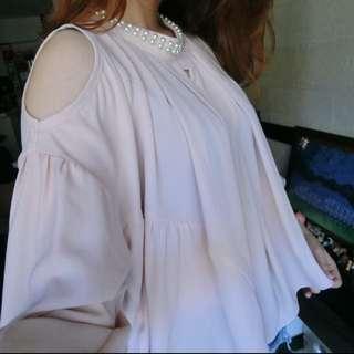 正韓 雪紡珍珠上衣