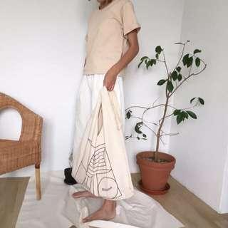 🌱百搭韓國簡約隨性塗鴉風大容量肩背帶 帆布包