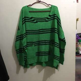 Knitted Green Striped Pull Over