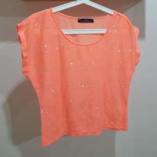 Orange Sequin Top
