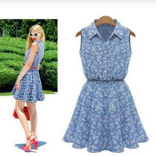U.S. Style Denim Button-up Polo Dress