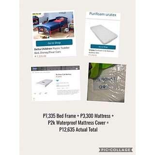 Kid's Cars Bed and Uratex Foam Set