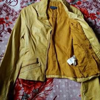 Yellow Leather Jacket Woman