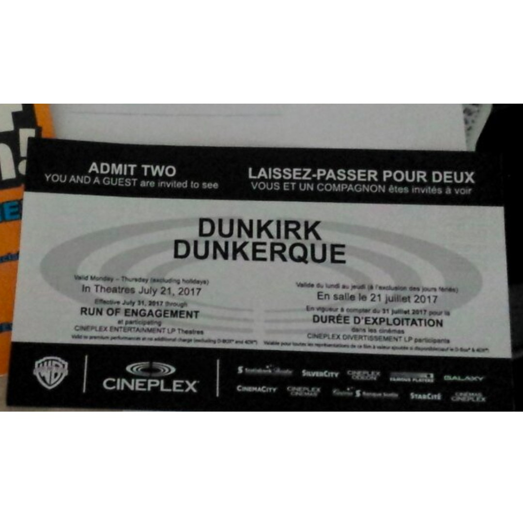 2 Dunkirk tickets