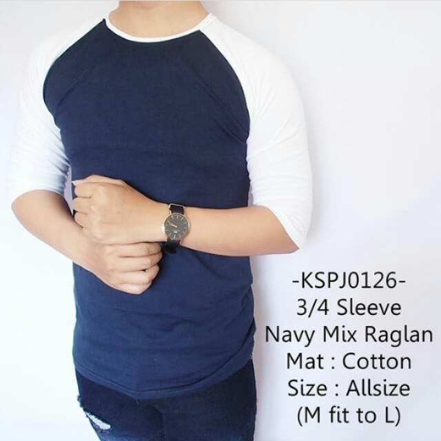 3/4 Sleve Navy Mix Raglan