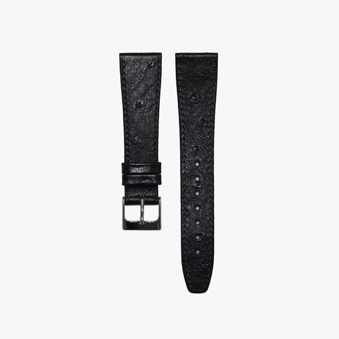 09d07c3a0 39] 20mm Black Ostrich Leather Watch Strap, Men's Fashion, Watches ...