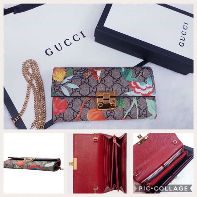 5342ae56acd112 GUCCI Padlock Chain Strap Continental Wallet on Carousell