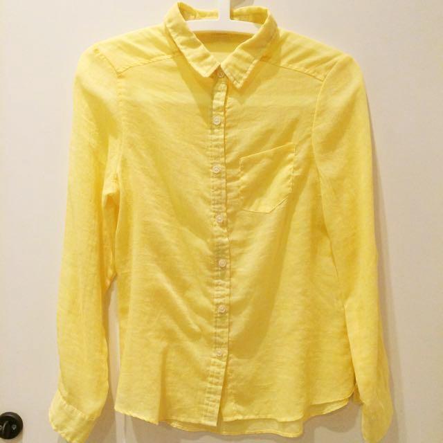 萊姆黃薄襯衫 百元女裝 日本購入