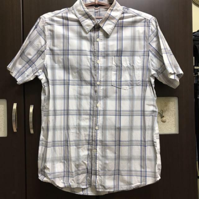 夏日風情 NET 白丶藍相間格子襯衫 XL