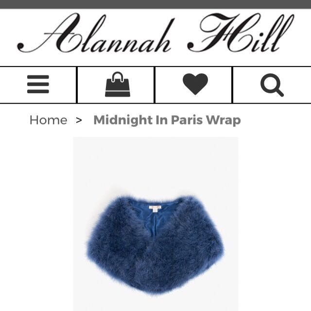 Alanah Hill Navy Feather Wrap Rrp $229