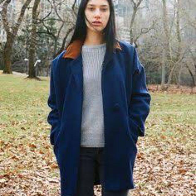 American Apparel Blue Wool Coat OSFA