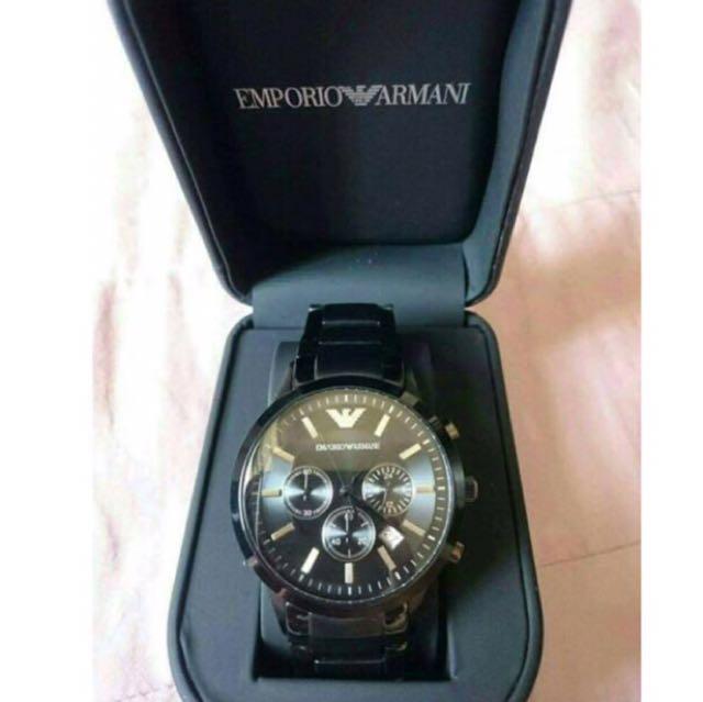 ARMANI 三眼腕錶黑-ar2453