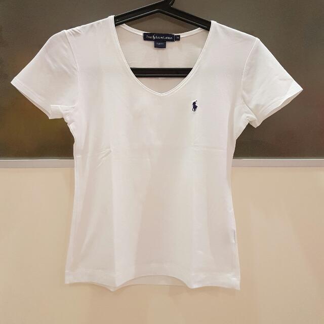4f41c21b Authentic Polo Ralph Lauren White Tee, Women's Fashion, Clothes ...