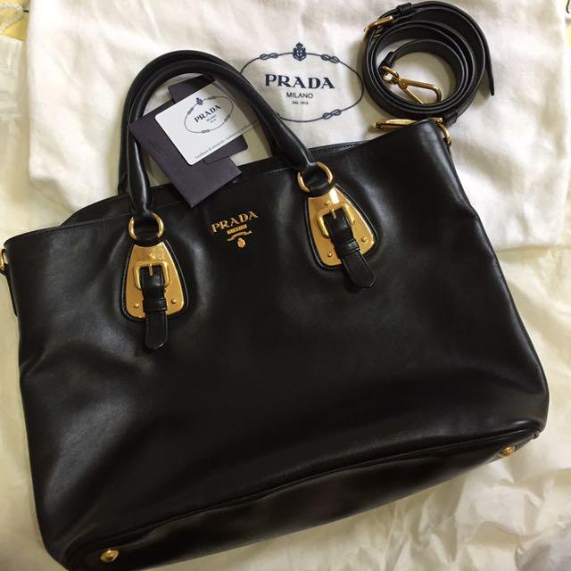 b2d267c0b9f6 Authentic Prada Soft Calf Leather Handbag In Nero (Black)
