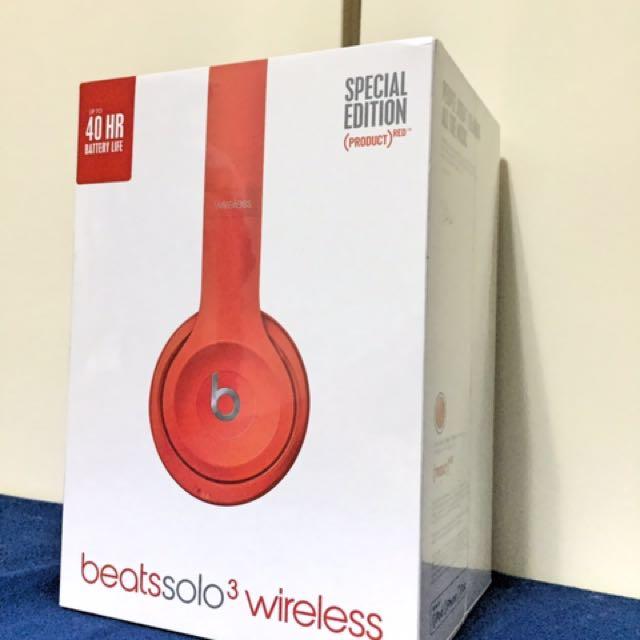 正版公司貨有保固Beats Solo3 Wireless 藍芽耳機 (警笛紅)