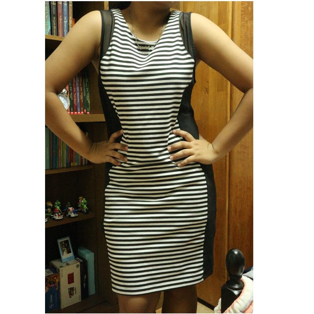 SALE!! Black Stripes (Office dress) Stretchable