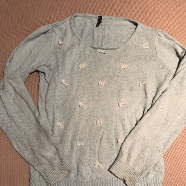 Blue Bow Jumper Size 8