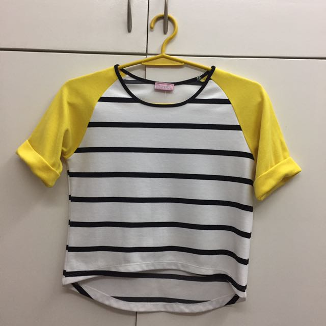 B&W Striped  Cropped Shirt With Yellow Sleeves