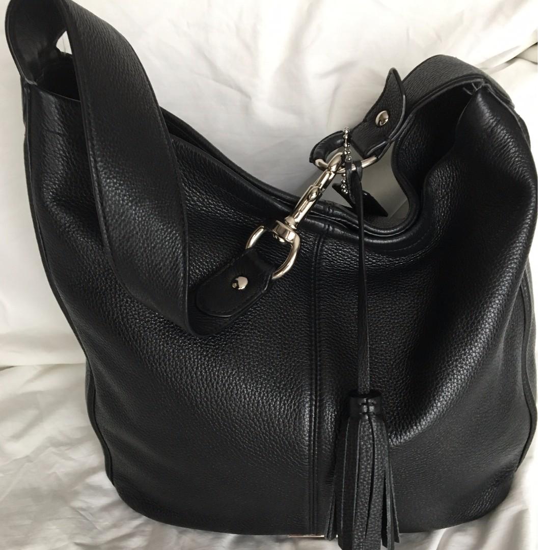 Coach Avery Black Leather Shoulder Bag