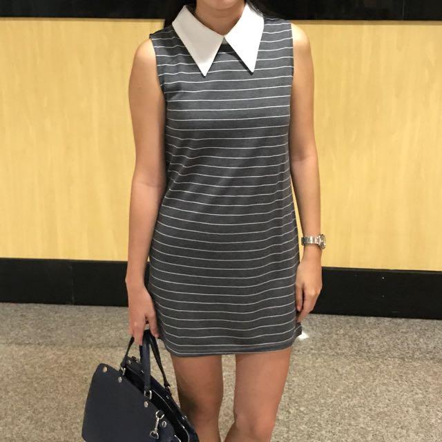 Colar Stripes Mini Dress