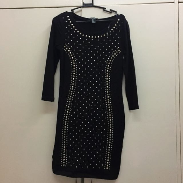 Forever 21 Black Bodycon Dress With Silver Studs