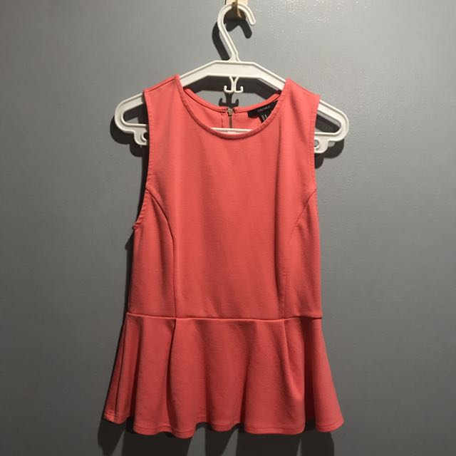 Forever 21 Coral Peplum Top