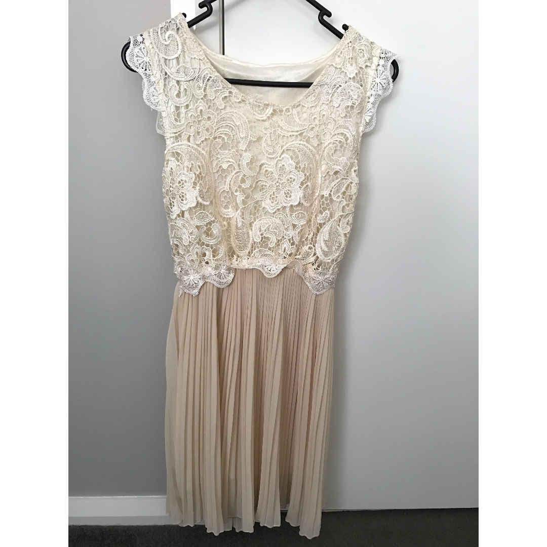 formal cream lace dress size 10