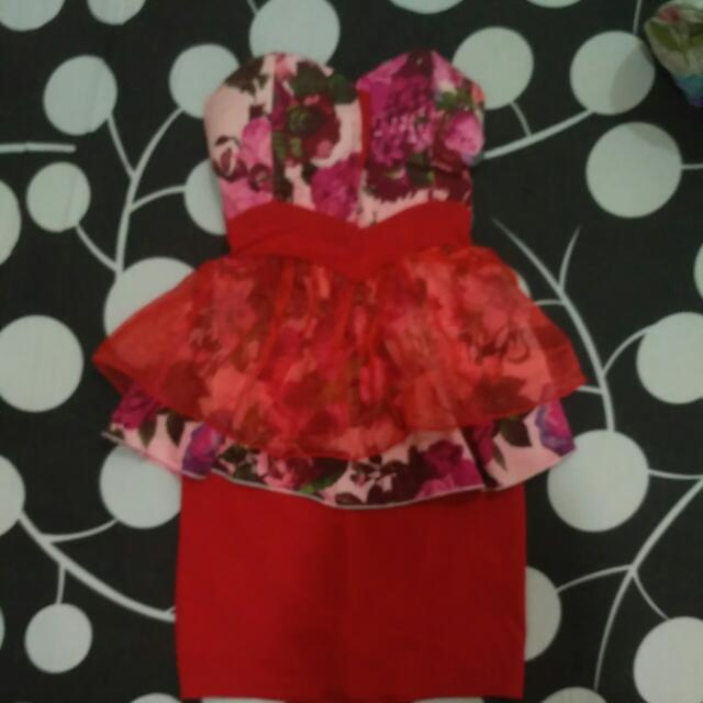 FREE ONGKIR Mini Dress Red