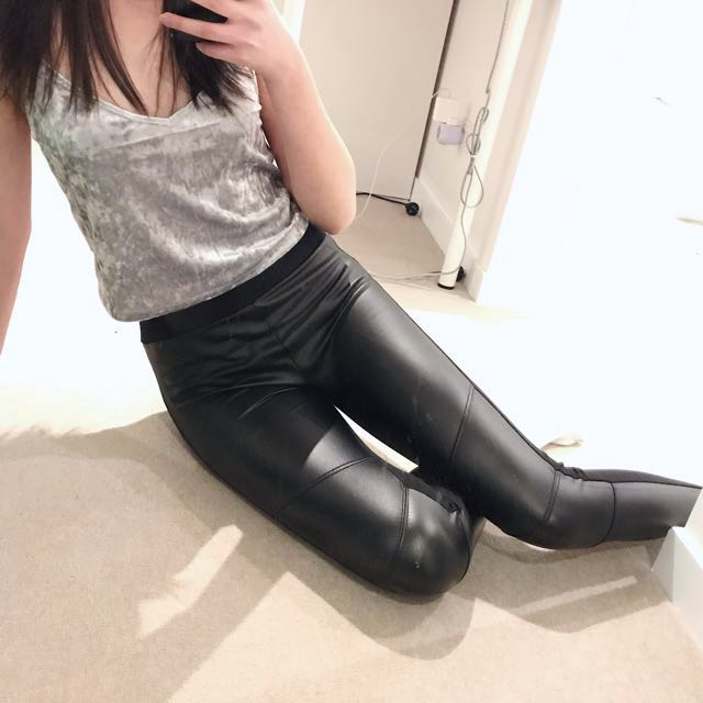 Front Faux Leather Leggings